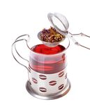 Glass cup of tea with a strainer Stock Images