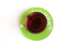 Glass Cup with tea top view Royalty Free Stock Photography