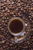 Glass cup of turkish coffee with coffee beans Stock Photo