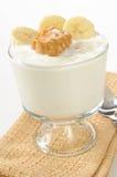Vanilla yogurt with peanut butter and banana Stock Photography