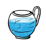 Glass cup with water, vector illustration. Royalty Free Stock Images