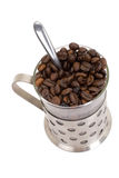 Glass Cup With Coffee And Beans Isolated On White Royalty Free Stock Photography