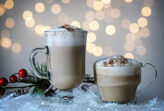 Glass cups with cappuccino and cocoa Royalty Free Stock Photography