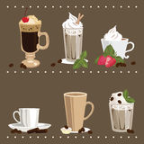 Glass and Cups with Coffee. Set of Glass and Cups with Coffee Royalty Free Illustration