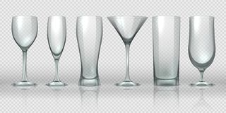 Glass cups. Empty transparent glasses and goblet mockups, realistic 3D bear pint and cocktail glassware. Vector glass royalty free illustration