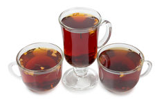 Glass cups with tea Stock Photos