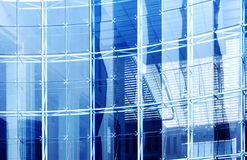 Glass curtain wall. Building mirror glass wall,Blue tint royalty free stock images