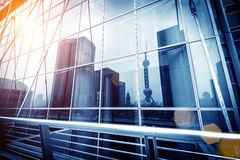 Glass curtain wall projection Stock Photo