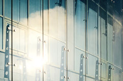 Glass curtain walls. Spider facade fixing system Stock Images