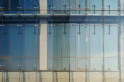 Glass curtain walls. Spider facade fixing system Stock Photo