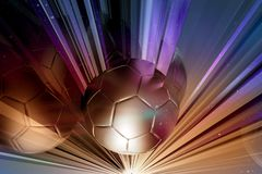 Glass Cut Soccer. Thru the Glass. Cool 3D Rendered Soccer Illustration with Golden Soccer Ball Sliced by Glasses Royalty Free Stock Images