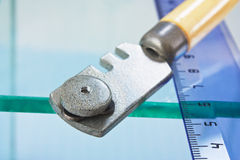 Glass cutter and  ruler Stock Photo