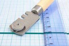 Glass cutter and  ruler Royalty Free Stock Image