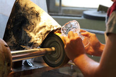 Glass-cutting in factory Stock Photography