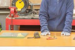 Glass cutting in the workshop. Glass Cutter Cutting Tool, glass cutting in the workshop Stock Photo