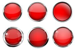 Glass 3d buttons. Red round icons with chrome frame. Vector illustration isolated on white background Royalty Free Stock Images