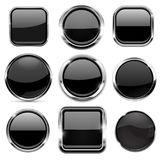 Glass 3d buttons set. Black round and square icons with chrome frame. Vector illustration isolated on white background vector illustration
