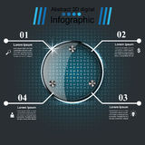 Glass 3D digital illustration Infographic. Royalty Free Stock Photography