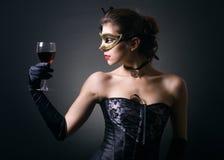 glass damtoalettrött vin Fotografering för Bildbyråer