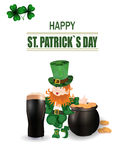 A glass of dark beer. Leprechaun in green hat. Two-leaf clover and horseshoe iron. Pot with coins. Happy St. Patrick`s. Inscription. Against the background of Royalty Free Stock Photography