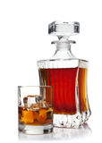 Glass and decanter of brandy Stock Image