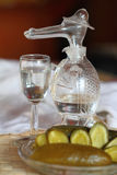 Glass decanter in the form of a crocodile. Still life: a glass decanter in the form of a crocodile, a shot glass and salty/pickled cucumber Stock Images