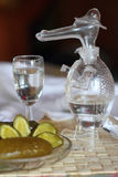 Glass decanter in the form of a crocodile. Still life: a glass decanter in the form of a crocodile, a shot glass and salty/pickled cucumber Royalty Free Stock Image