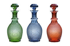 Glass decanters isolated on white. royalty free stock photography