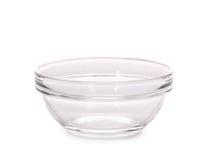 Glass deep transparent bowl. Stock Photos