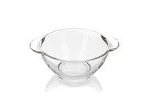 Glass deep transparent bowl. Stock Photo
