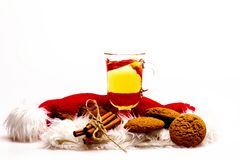Glass of delicious glintwein or mulled hot wine Royalty Free Stock Image