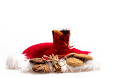 Glass of delicious glintwein or mulled hot wine Stock Photography
