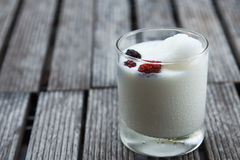 Glass of delicious icecream milkshakes Royalty Free Stock Photography