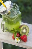 Glass of detox smoothie and fruit on wooden table in the garden. With fruit Royalty Free Stock Photos