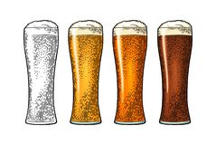 Glass with different types beer - lager, ale, porter. Vintage color engraving. Glass with different types beer - lager, ale, porter. Vintage color vector stock illustration