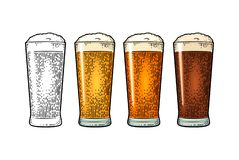 Glass with different types beer - lager, ale, stout. Vintage color engraving. Glass with different types beer - lager, ale, stout. Vintage color vector engraving stock illustration