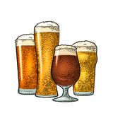 Glass with different types beer - lager, ale, stout. Vintage color engraving. Glass with different types beer - lager, ale, stout. Vintage color vector engraving royalty free illustration