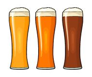 Glass with different types beer - lager, ale, stout. Vintage color flat illustration. Glass with different types beer - lager, ale, stout. Vintage color vector stock illustration