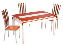 Glass dining table and chairs Stock Image