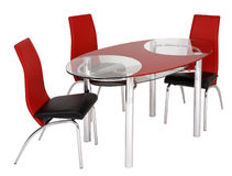 Glass dining table and chairs Royalty Free Stock Images