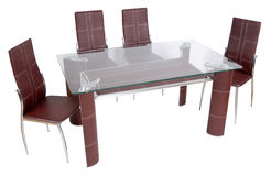 Glass dining table and chairs Royalty Free Stock Photography