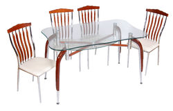 Glass dining table and chairs Royalty Free Stock Photos