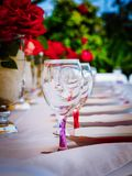 Glass and dinner accessories royalty free stock photos
