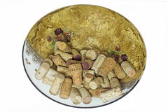 Glass dish decorated with corks Stock Images