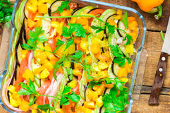Glass dish with ratatouille Royalty Free Stock Photography