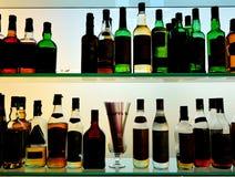 Liquors bottles at the pub Stock Photo
