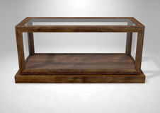 Glass Display Case Frame Horizontal. An empty glass display case with a wooden base and frame on an isolated studio background - 3D rendering Royalty Free Stock Photography
