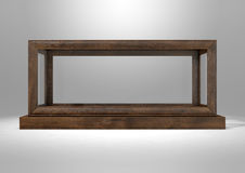 Glass Display Case Frame Horizontal. An empty glass display case with a wooden base and frame on an isolated studio background - 3D rendering Stock Images