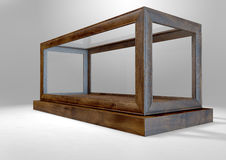 Glass Display Case Frame Horizontal. An empty glass display case with a wooden base and frame on an isolated studio background - 3D rendering Stock Photo