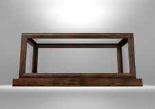 Glass Display Case Frame Horizontal. An empty glass display case with a wooden base and frame on an  studio background - 3D rendering Stock Photography